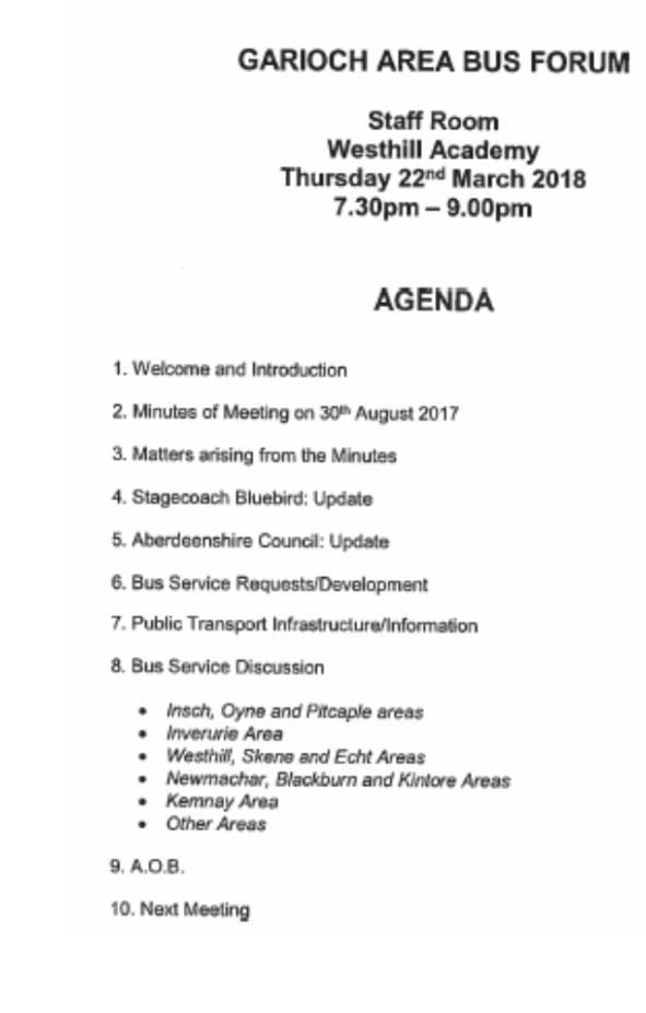 bus forum agenda